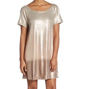 NWT Sequined Free People Dress M Rose Gold multi